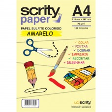 Papel Colorido Amarelo A4 210mmx297mm 75g 1Pct - Scrity