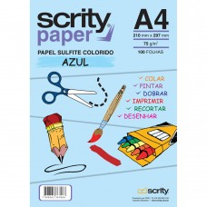 Papel Colorido Azul A4 210mmx297mm 75g 1Pct - Scrity
