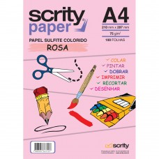 Papel Colorido Rosa A4 210mmx297mm 75g 1Pct - Scrity