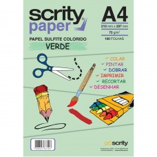 Papel Colorido Verde A4 210mmx297mm 75g 1Pct - Scrity