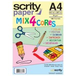 Papel Colorido Mix 4 cores A4 210mmx297mm 75g 1Pct - Scrity